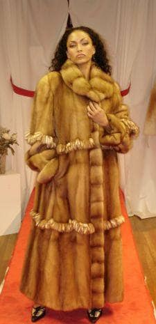 Whiskey mink Fur Coat Ruffled Mink Trim Skin on Skin 91166