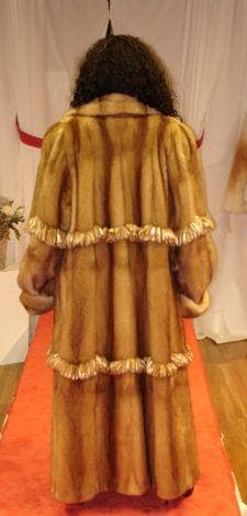 Italian Designed Whiskey Mink Coat Fringes