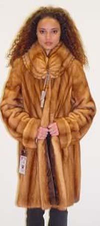 Designer Whiskey mink Fur Stroller Pleated Fur Collar