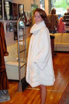 Bright White Mink Swing Fur Stroller Kimono Style Horizontal Bottom Side