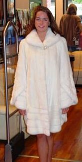 White Mink Swing Fur Stroller Kimono Style