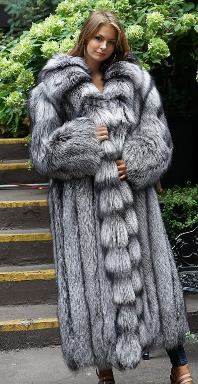 Full Length Silver Fox Coat Cross Cut Tuxedo