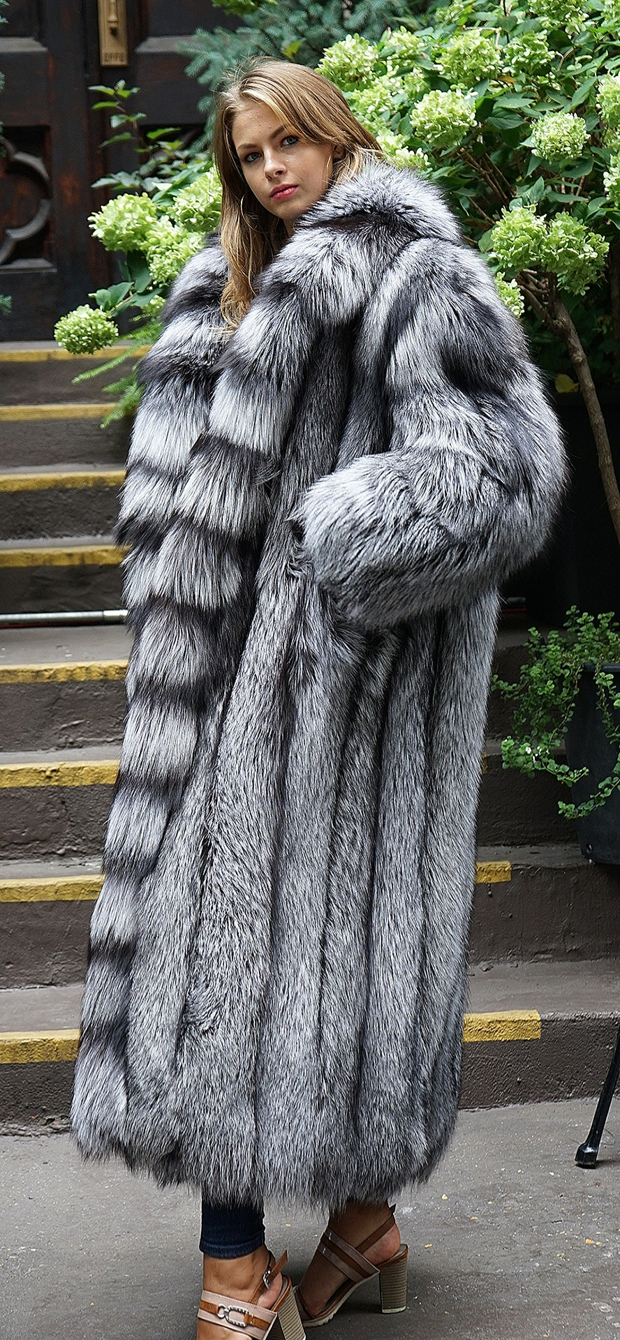 Full Length Silver Fox Coat Cross Cut Tuxedo