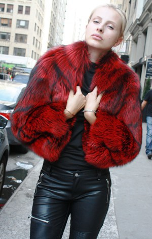 Marc Kaufman Furs Presents a dyed red silver fox fur jacket with bolero sleeves from Marc Kaufman Furs New York,Argentina,United Kingdom,Austria,Denmark,Norway,Australia,Finland,Saudi Arabia,Oman,Kuwait,Jordan,Egypt