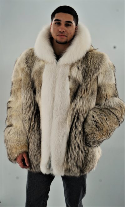 Men's Coyote Fur Jacket White Fox Trim Hood