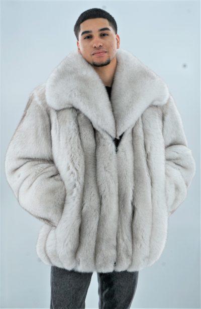 Men's Blue Fox Fur Bomber Jacket