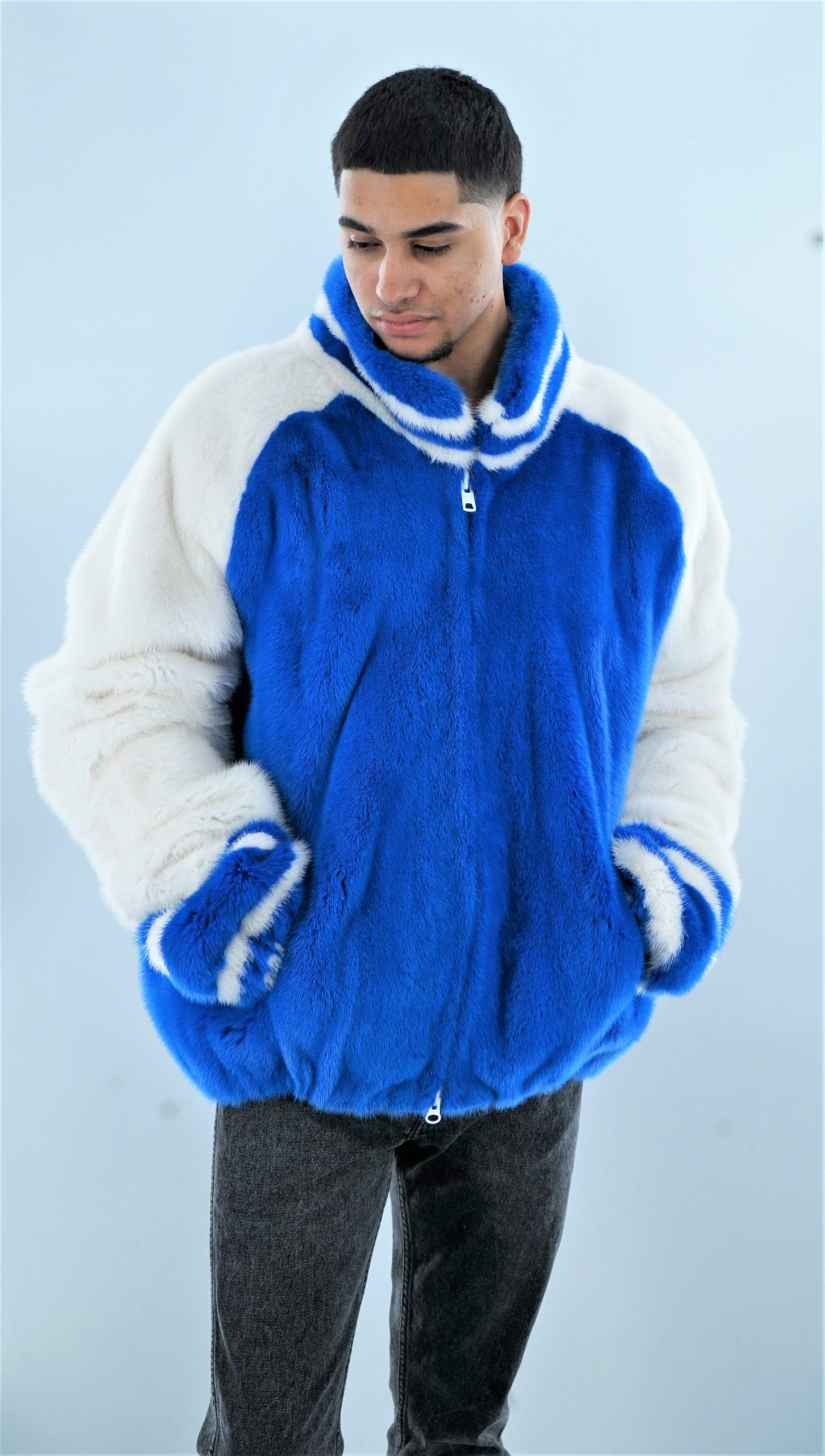 Blue White Mink Fur Men's Varsity Jacket