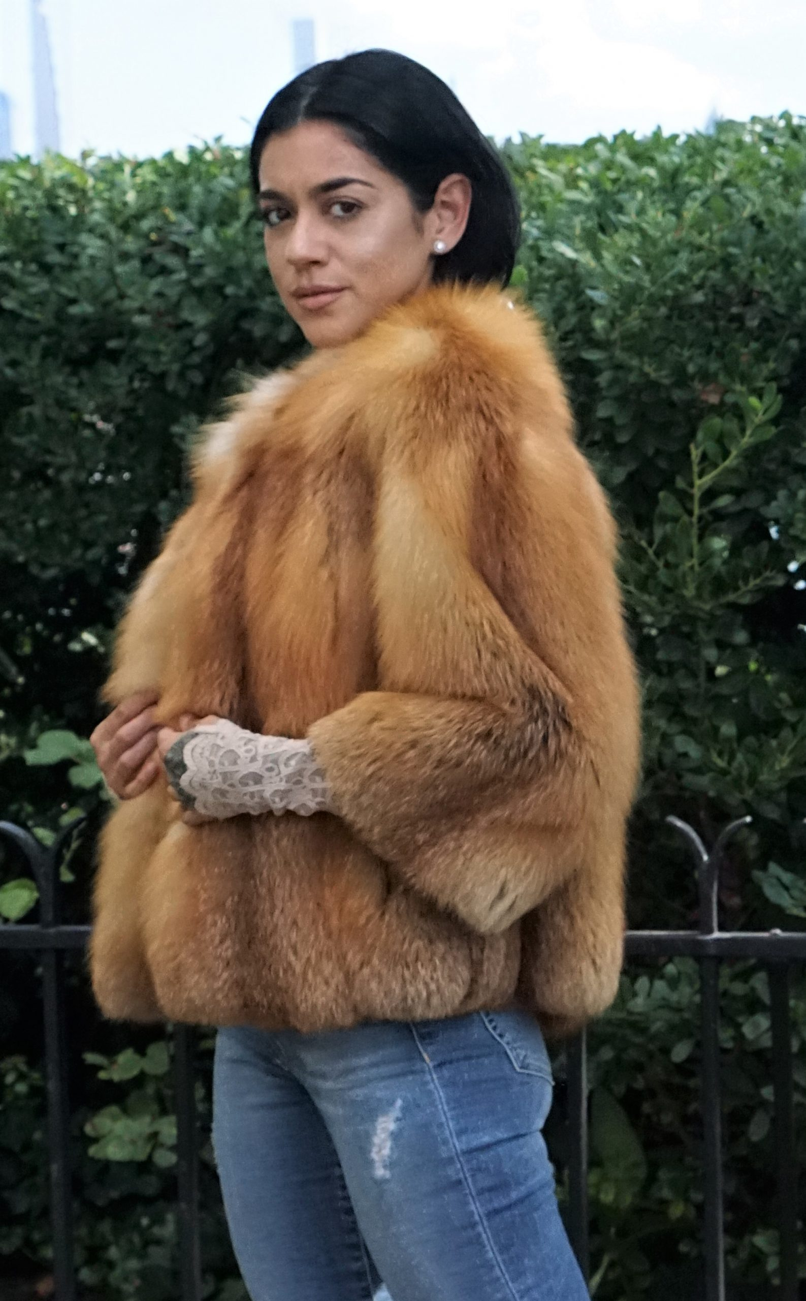 red fox fur bolero jacket