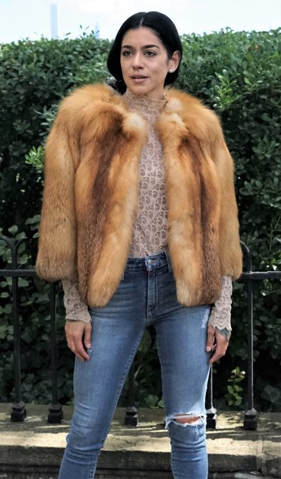 Natural red fox fur bolero jacket