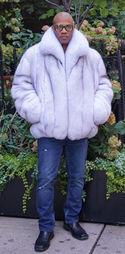 Men's Blue Fox Fur Bomber Jacket