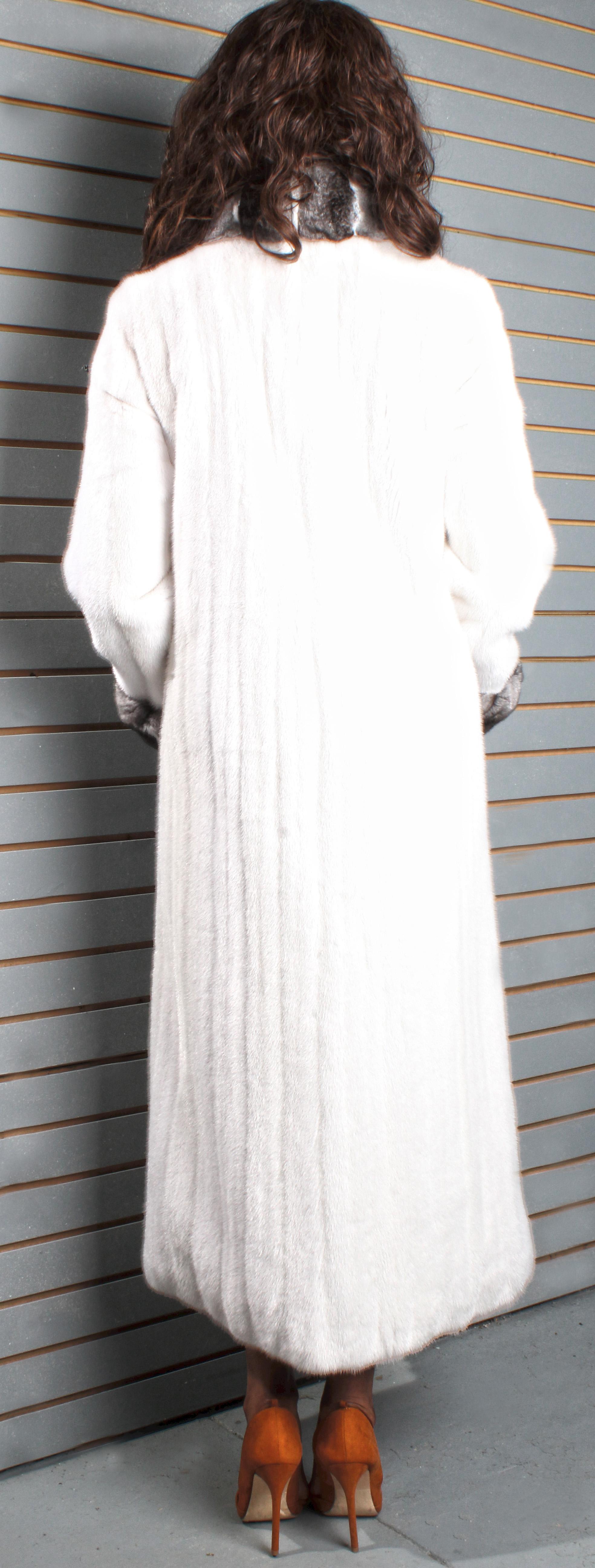 Full Length Sheared Mink Coat with Chinchilla Fur Tuxedo Trim CHinchilla Fur Collar and Chinchilla Fur Cuffs
