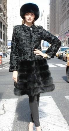 Black Persian Stroller Black Fox Fur Border Black Fox Headband