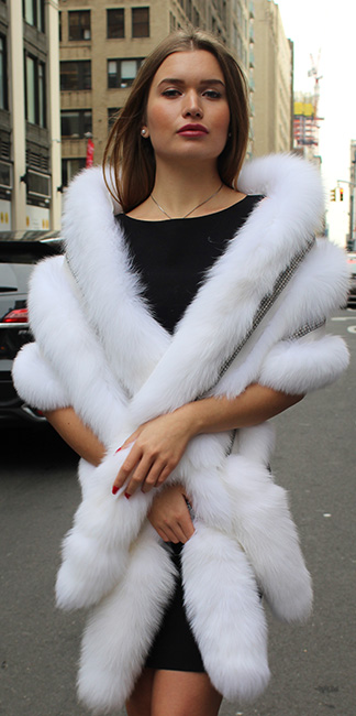 White Fox Fur Boa Rhinestones