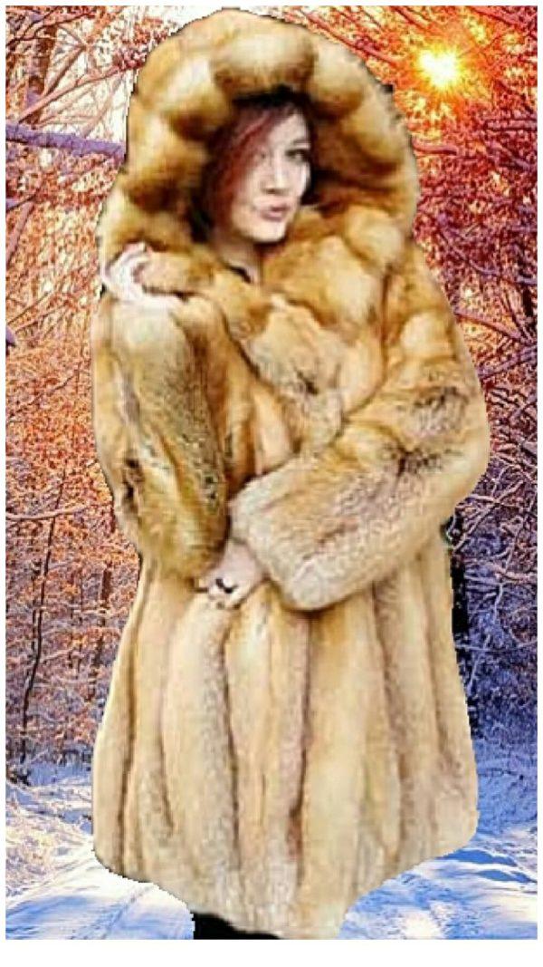 red fox fur stroller