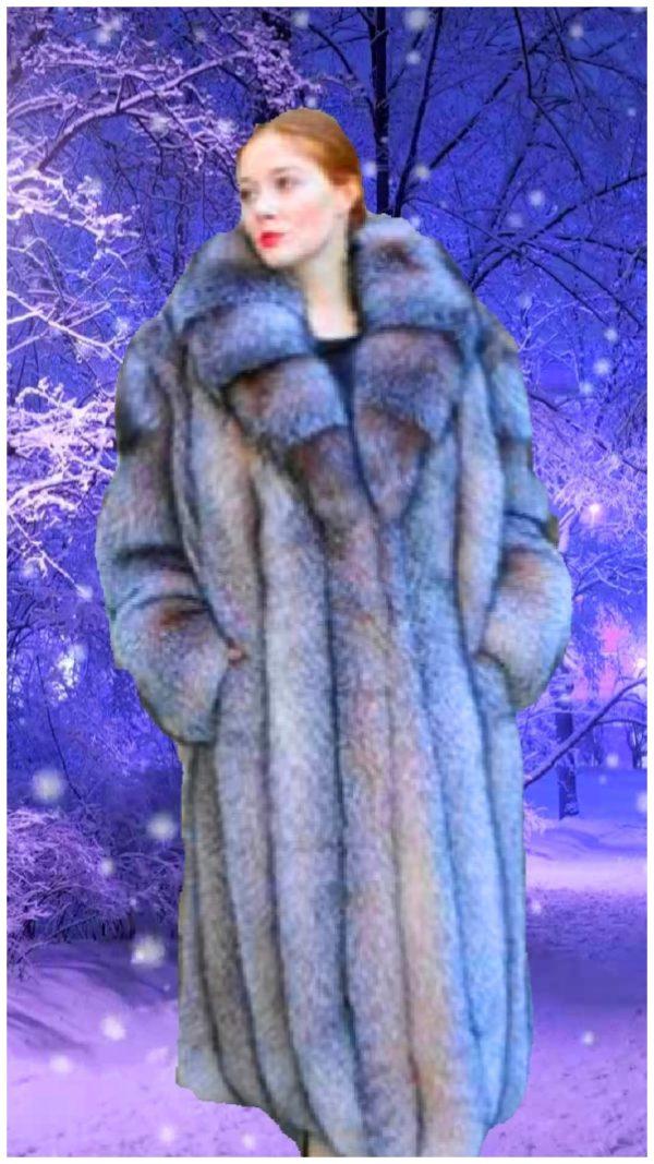 Crystal fox fur coat
