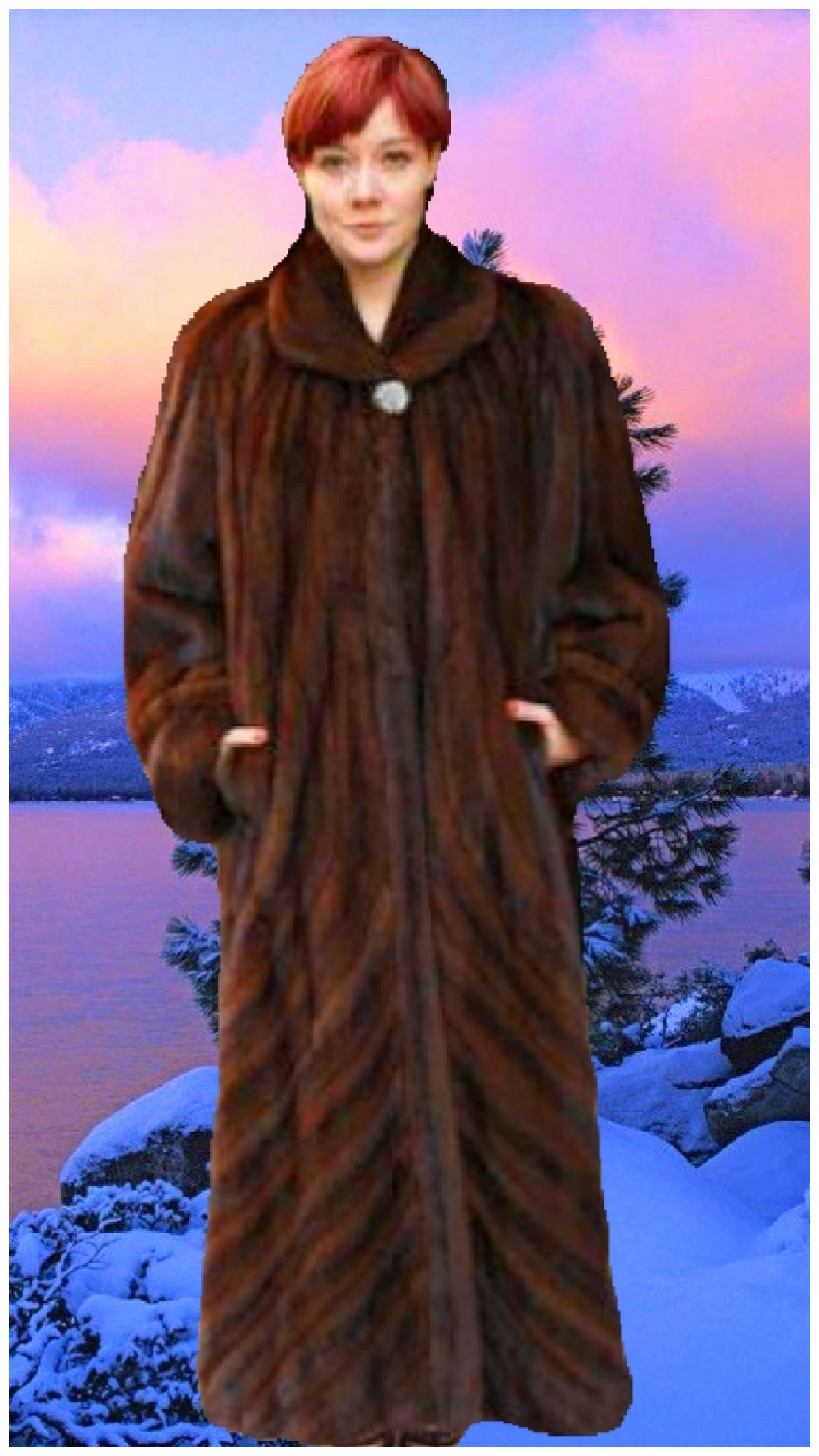 full length mahogany mink for coat