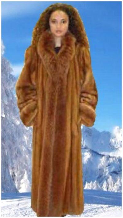 Mink fur coat with fox fur