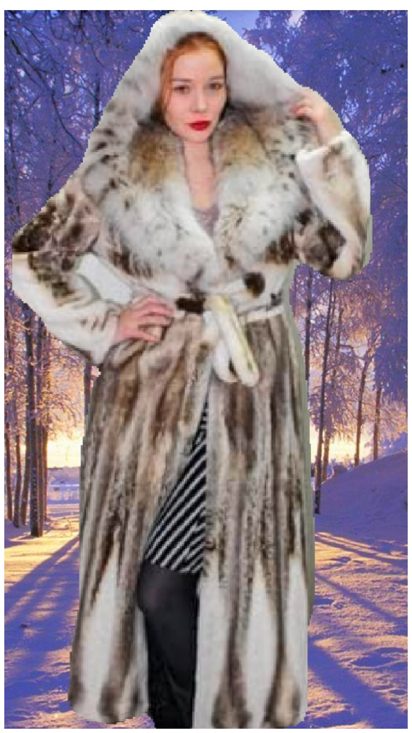 sheared mink coat with lynx collar