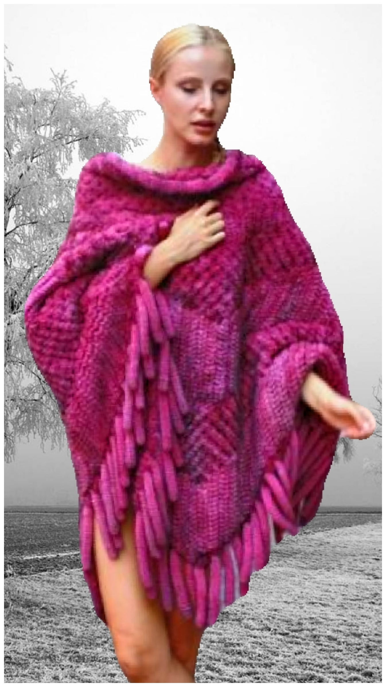 plus size hot pink knit mink fur
