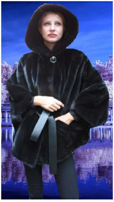 blackglama ranch mink fur poncho