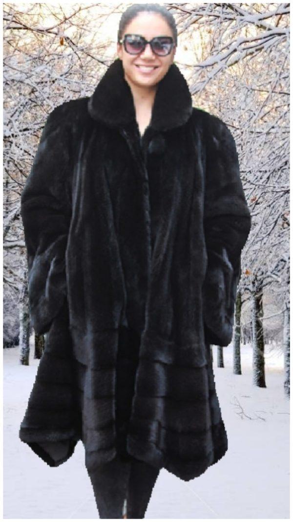 plus size black ranch mink fur swing stroller