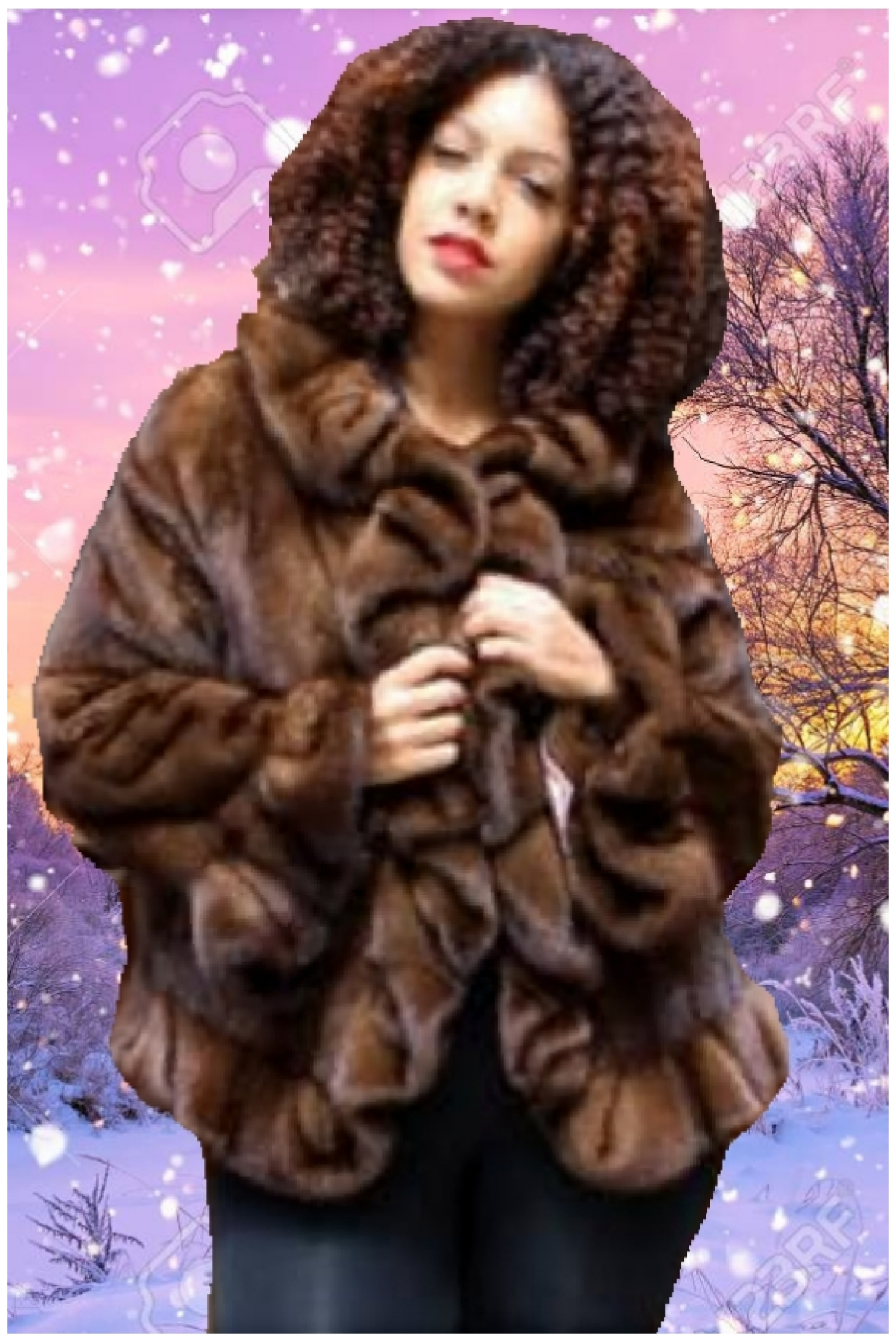 plus size mahogany ruffled mink fur jacket