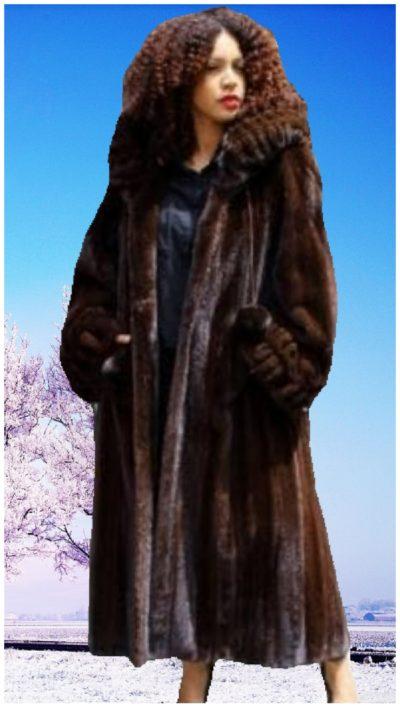 plus size mahogany mink fur coat