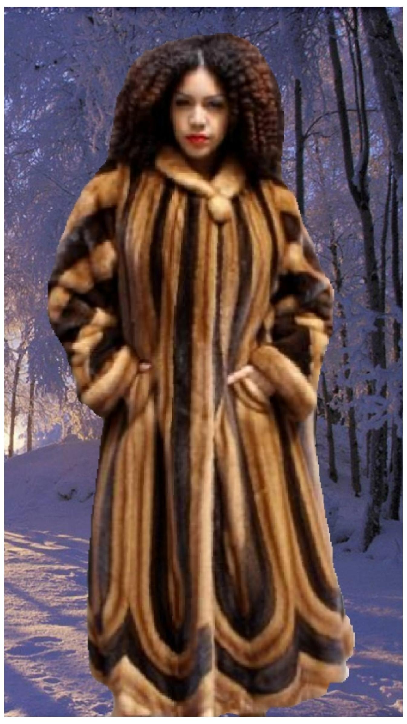 plus size mahogany fur mink swing full length coat
