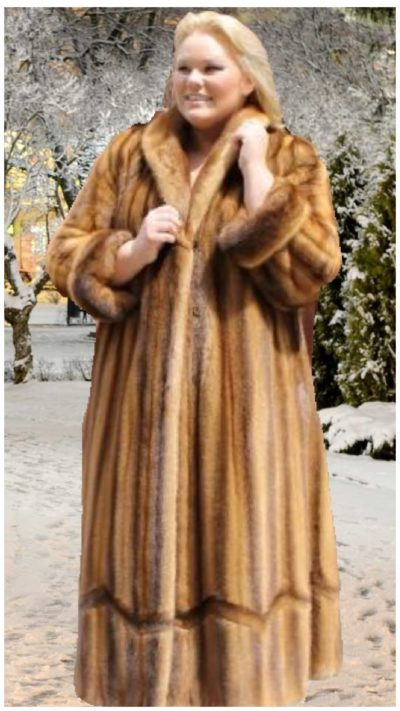 plus size whiskey mink fur coat grooving design