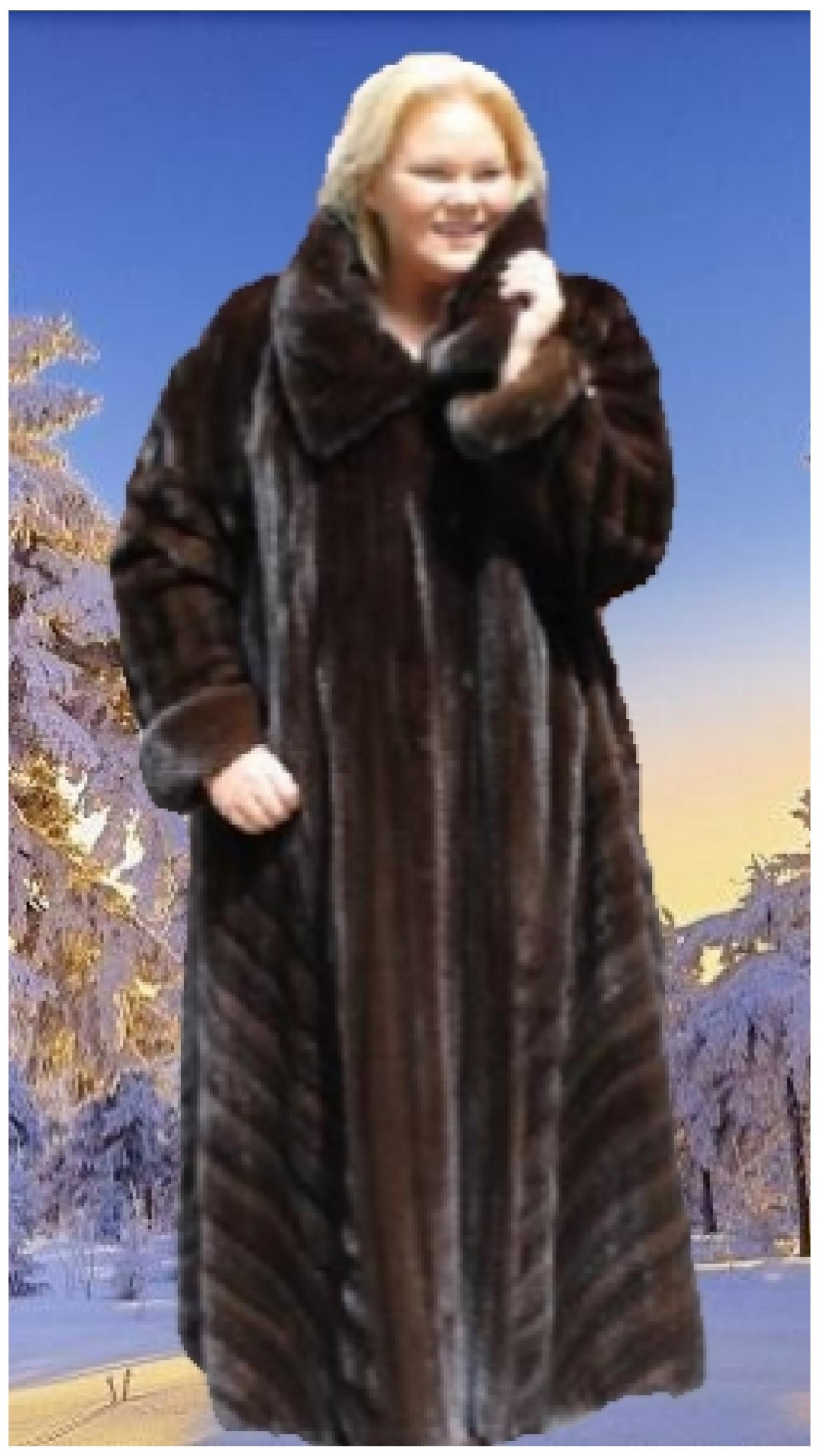 plus size mahogany mink directional fur coat