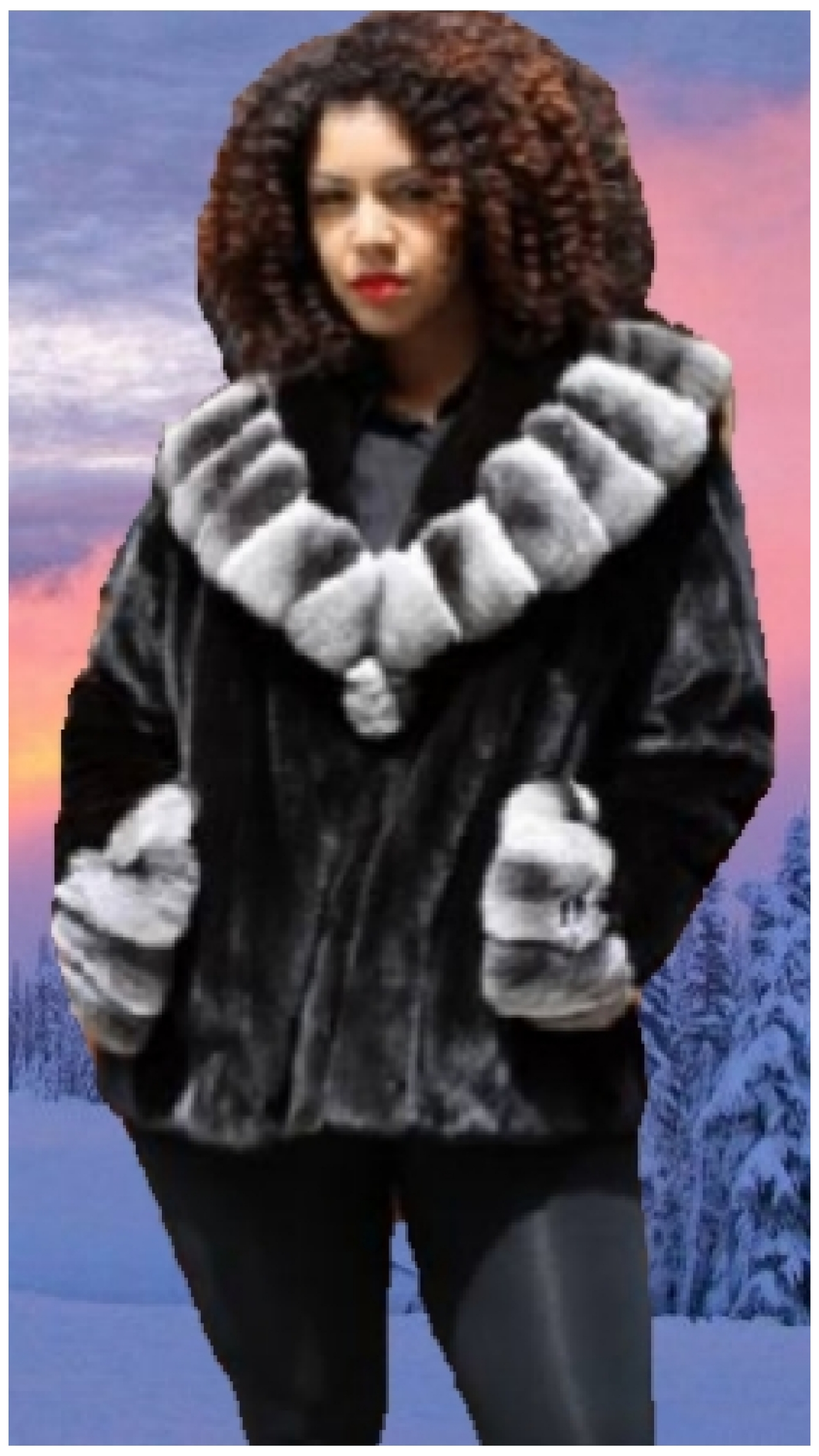 plus size ranch mink fur jacket chinchilla