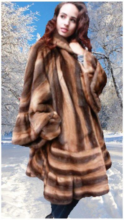 plus size whiskey brown mink stroller kimono style