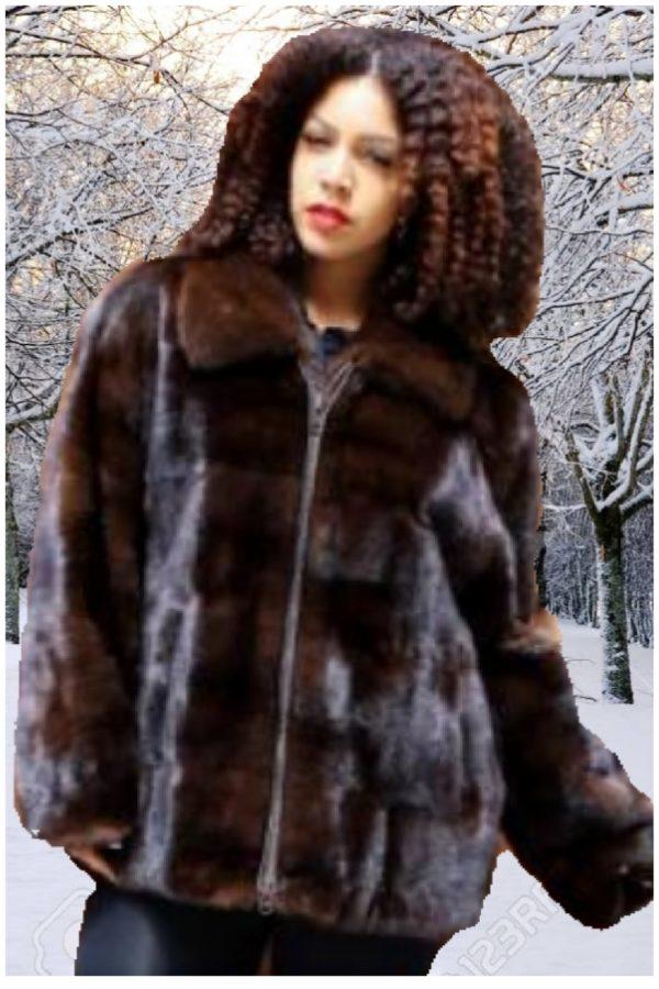 plus size classic mahogany mink fur jacket