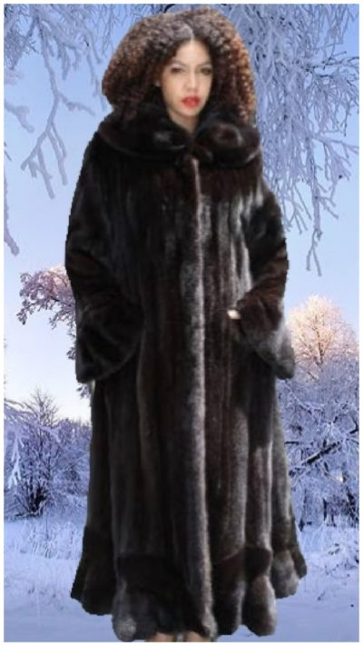 plus size mahogany female mink coat