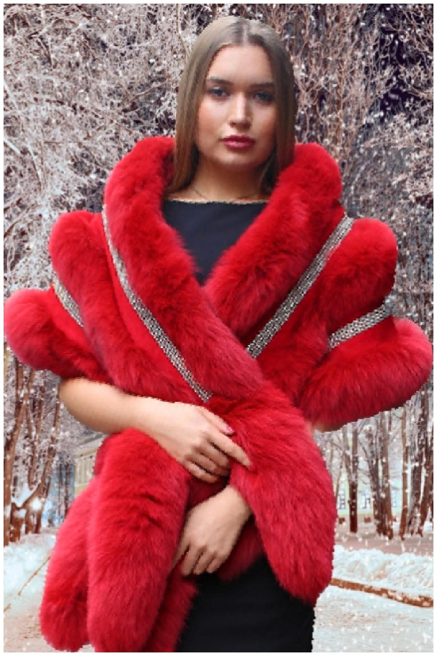 dyed red fox boa rhinestones