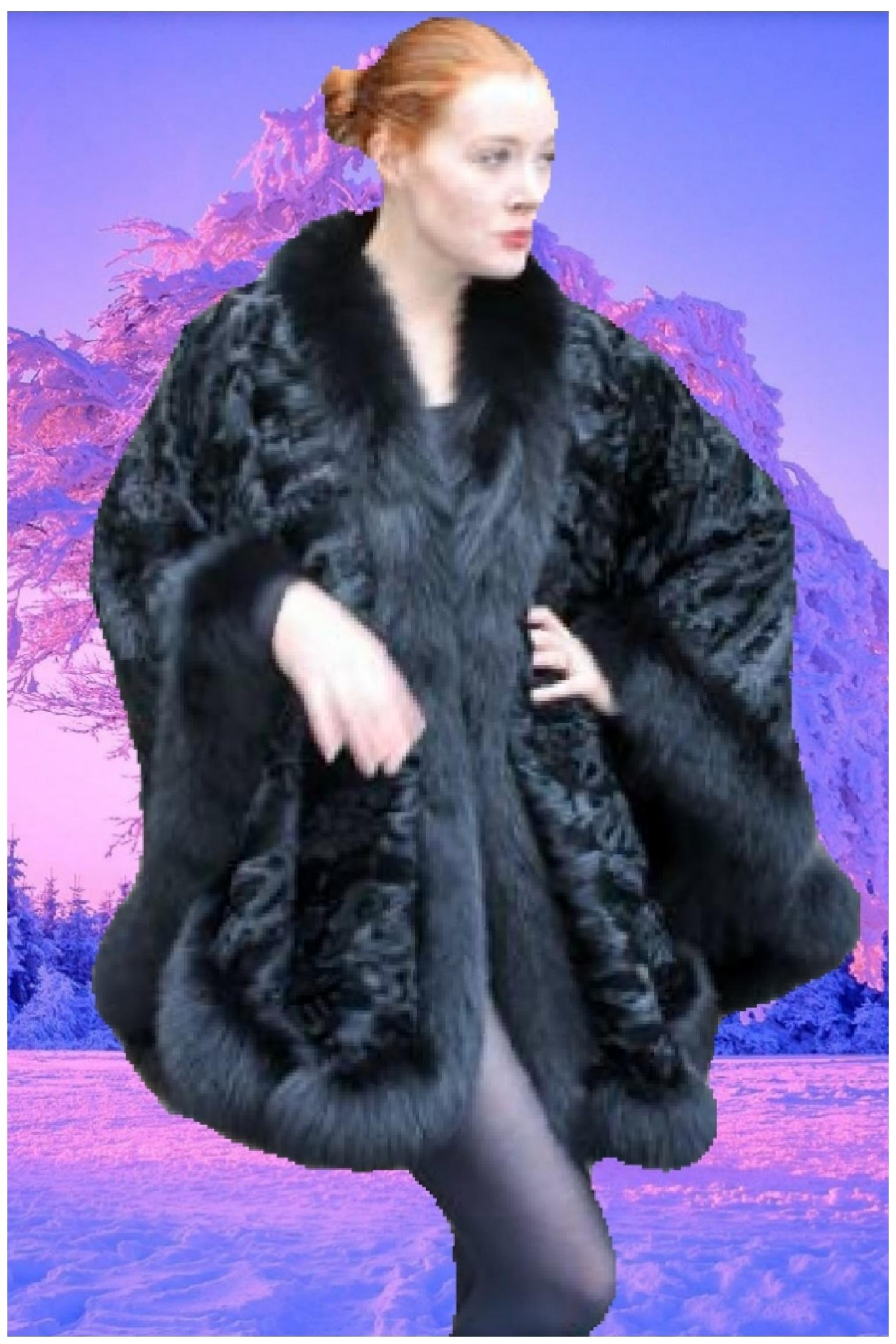 black persian fur cape black fox fur trim