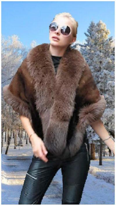 brown mink fur cape brown fox trim