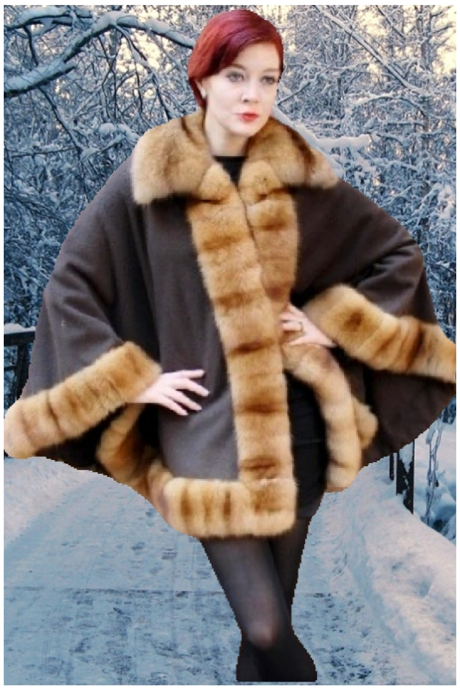 brown cashmere cape sable fur