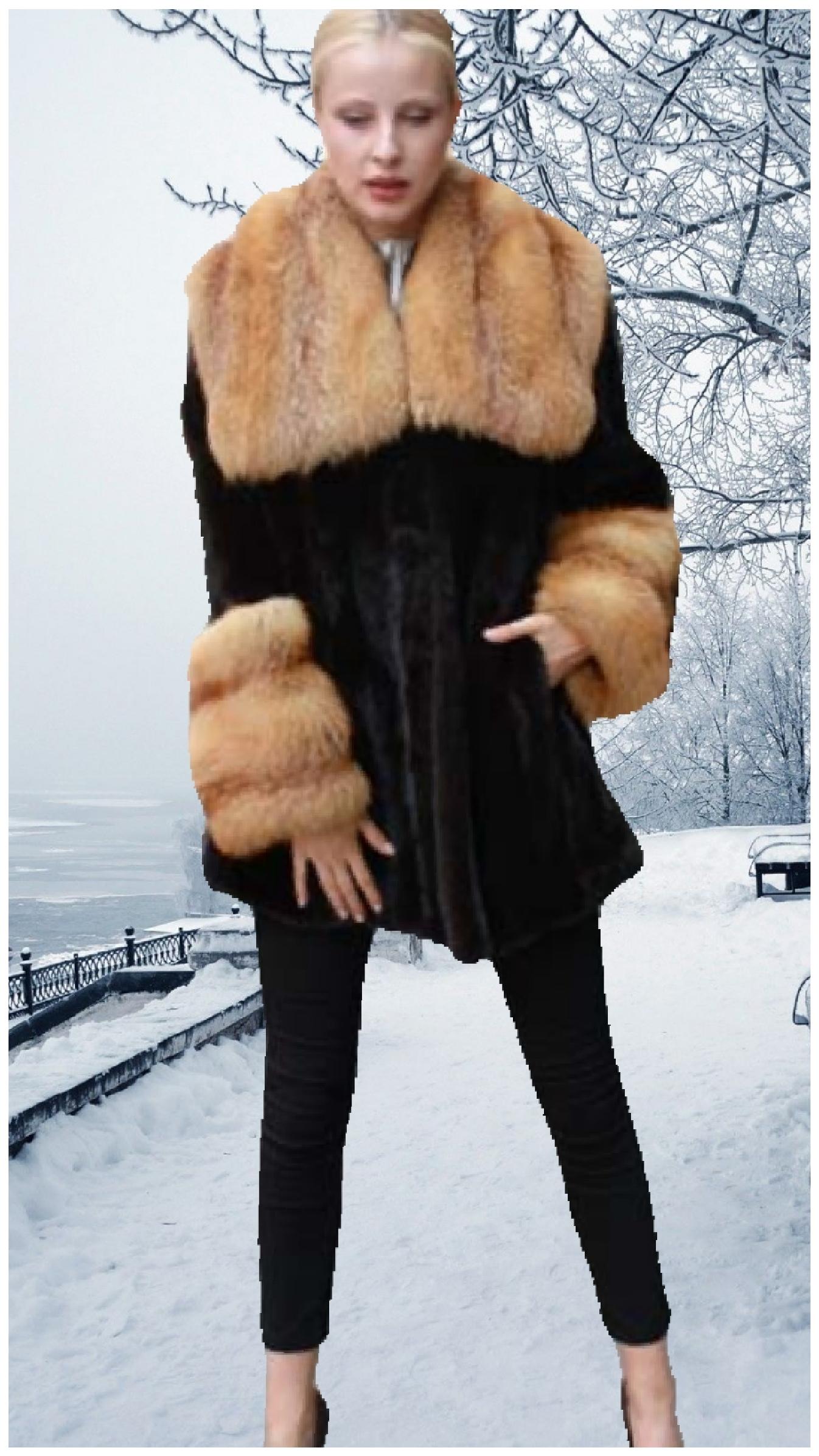 blackglama ranch mink stroller red fox collar red fox fur cuffs
