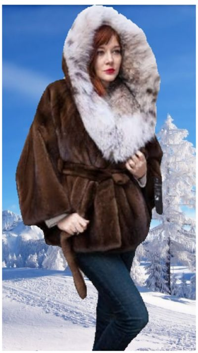 demi mink fur cape canadian lynx fur hood mink belt