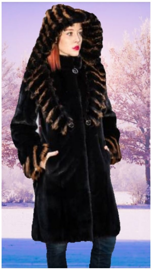black mink stroller black fox red fox trim hood