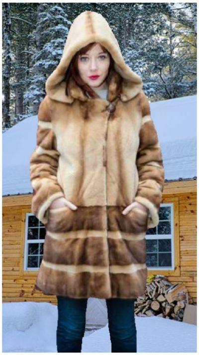 gold sheared mink fur stroller hood
