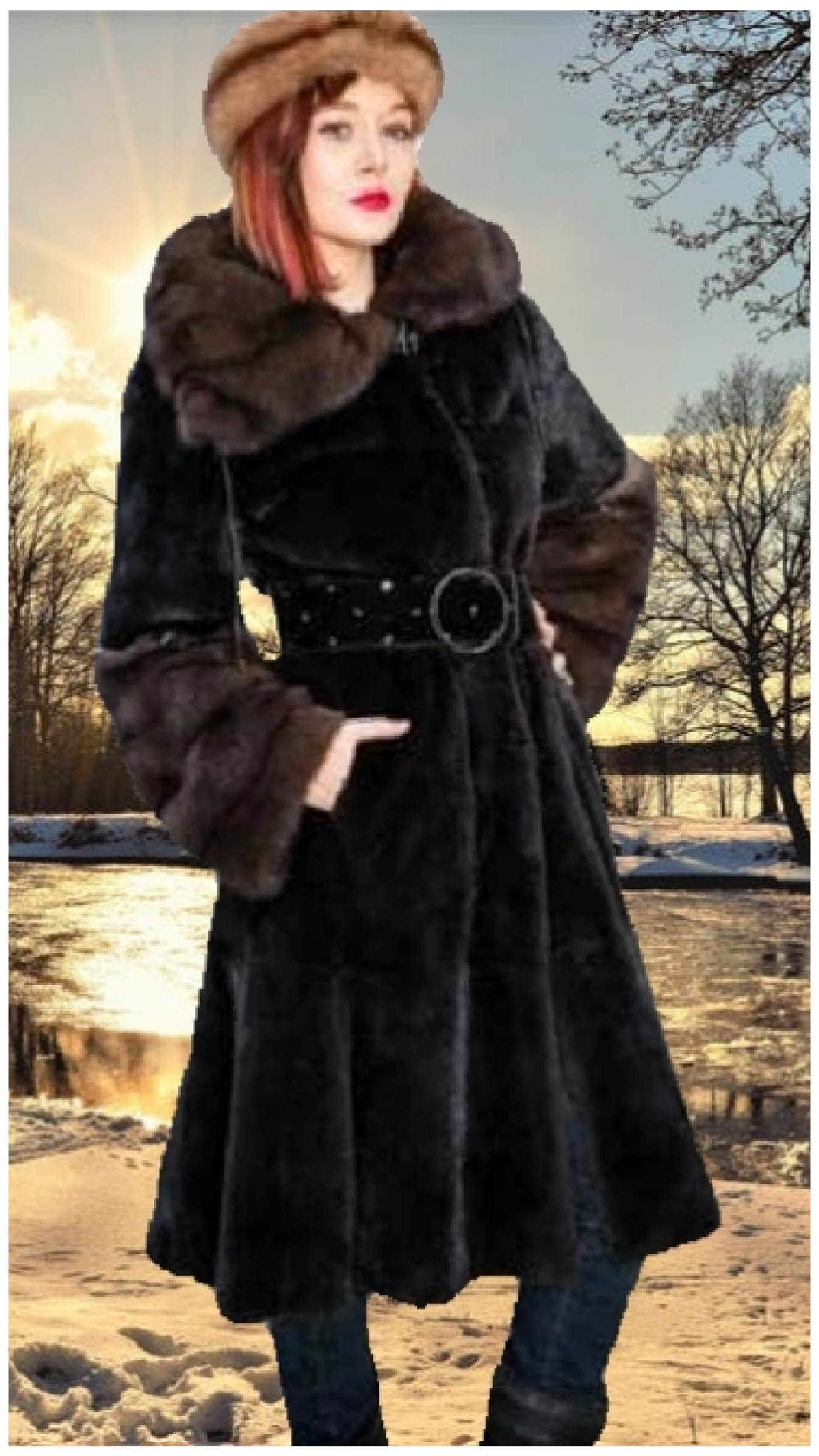 blackglama ranch mink fur coat sable cuffs collar