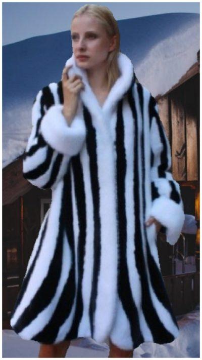black white swing mink fur stroller princess cut