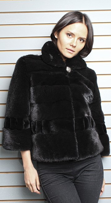 Blackglama Ranch Pleated Sheared Mink Fur Jacket