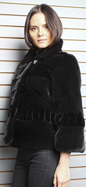 Ranch Pleated Sheared Mink Fur Jacket