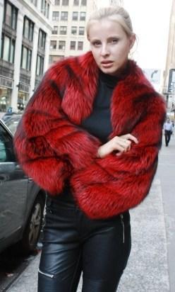 Marc Kaufman Furs Presents a dyed red silver fox fur jacket with bolero sleeves from Marc Kaufman Furs New York,Argentina,United Kingdom,Austria,Denmark,Norway,Australia,Finland,Saudi Arabia,Oman,Kuwait,Jordan,Egypt