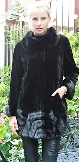Marc Kaufman Furs Presents a black sheared mink fur jacket from Marc Kaufman Furs New York,Argentina,United Kingdom,Austria,Denmark,Norway,Australia,Finland,Saudi Arabia,Oman,Kuwait,Jordan,Egypt