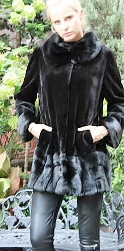 Marc Kaufman Furs Presents a black sheared mink fur jacket from Marc Kaufman Furs New York,Argentina,United Kingdom,Austria,Denmark,Norway,Australia,Finland,Saudi Arabia,Oman,Kuwait,Jordan,Egypt