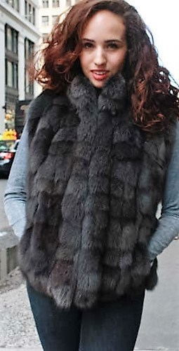 Marc Kaufman Furs Presents a gray fox fur diamond vest from Marc Kaufman Furs New York,Argentina,United Kingdom,Austria,Denmark,Norway,Australia,Finland,Saudi Arabia,Oman,Kuwait,Jordan,Egypt